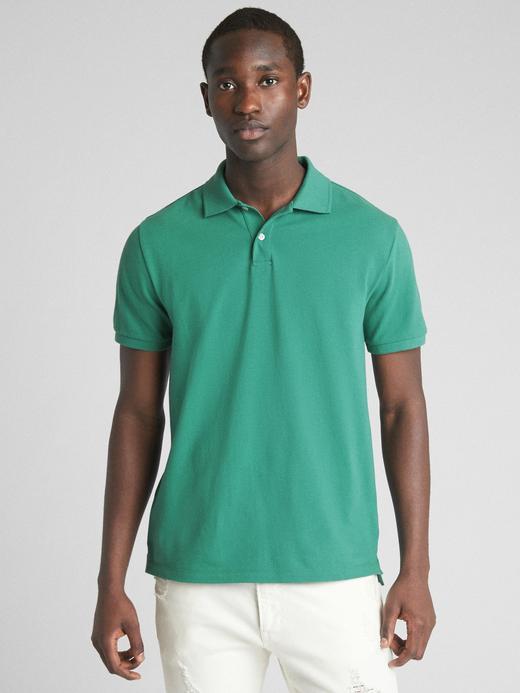 yeşil Kısa kollu Streç Pique Polo T-Shirt