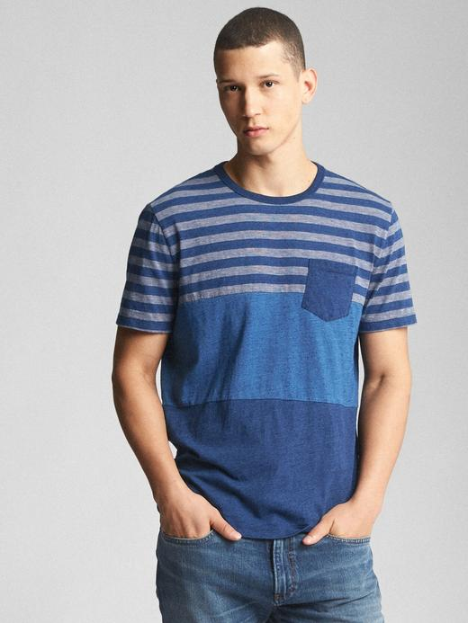 orta indigo Çizgili kısa kollu cepli t-shirt