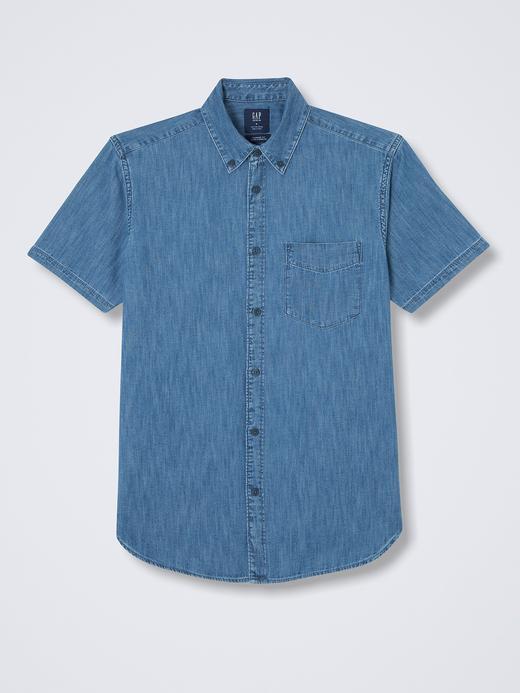 Kısa kollu denim gömlek