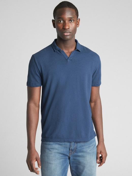 Kısa kollu pamuk keten karışımlı polo t-shirt
