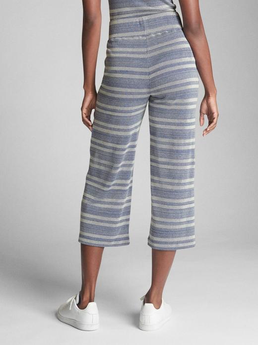 Kadın lacivert Çizgili bol paça kısa pantolon