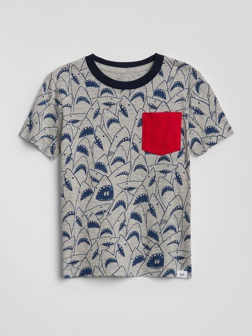 Baskılı cepli kısa kollu t-shirt