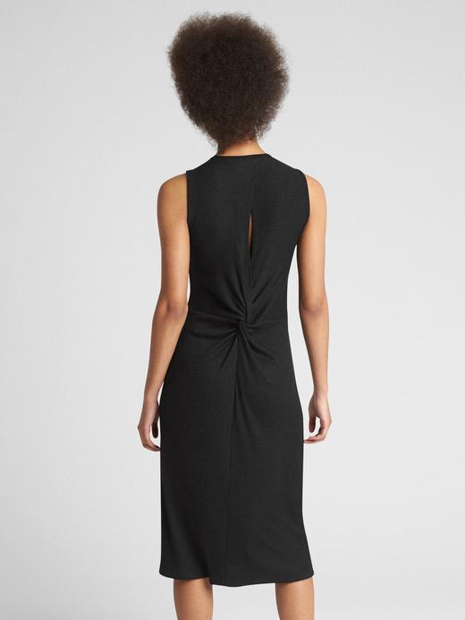 Siyah Softspun kolsuz midi elbise