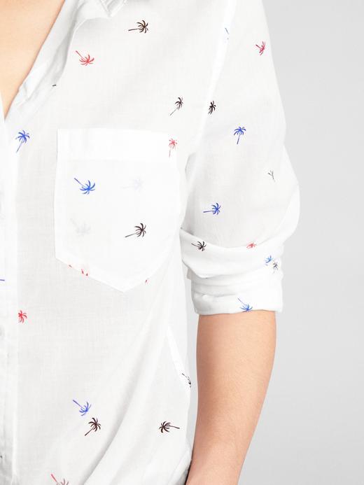 palmiye desenli Desenli boyfriend gömlek