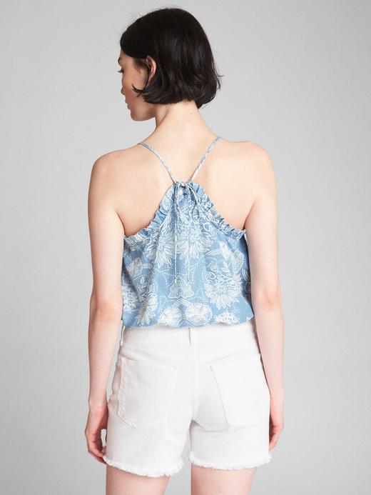 Fırfır detaylı desenli askılı bluz
