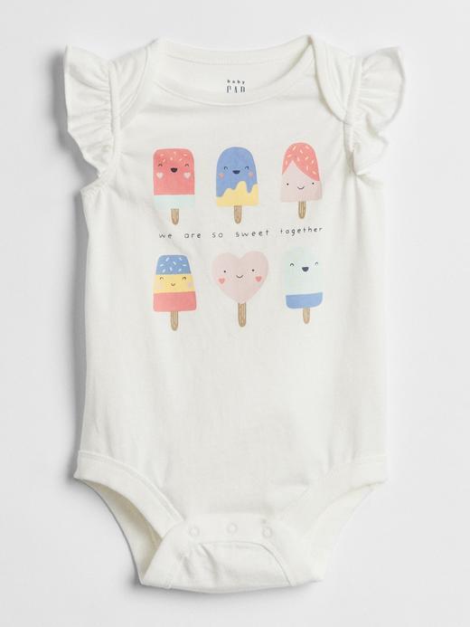 Bebek kırık beyaz Fırfır kollu baskılı body