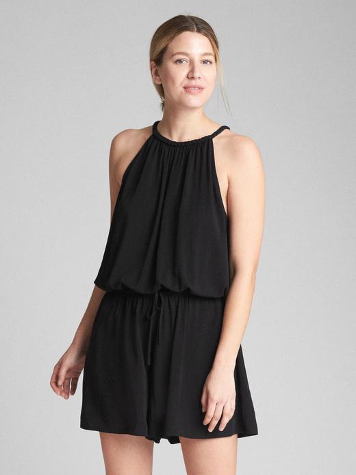 Kadın Siyah Askılı elbise tulum