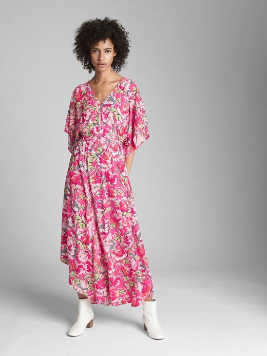 Kimono kollu maxi elbise