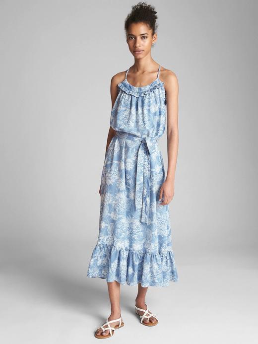 Fırfırlı Tencel™ maxi elbise