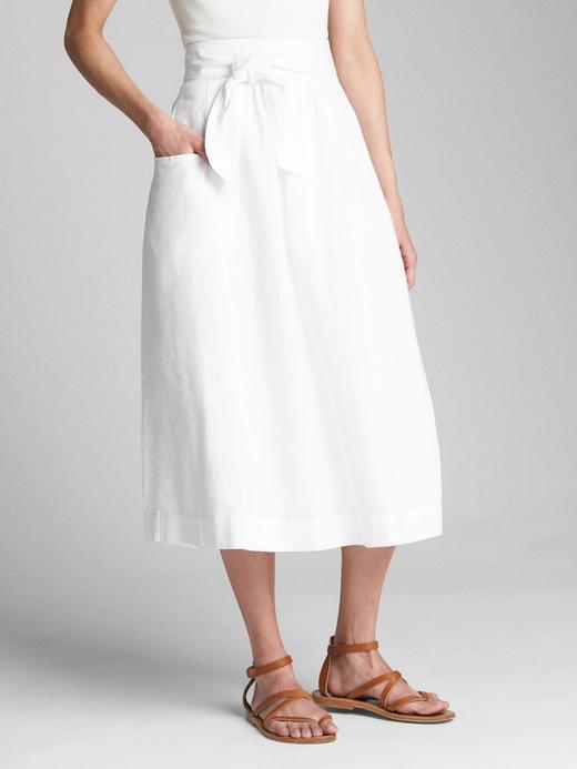 Kadın beyaz Kuşaklı keten ve pamuk karışımlı etek