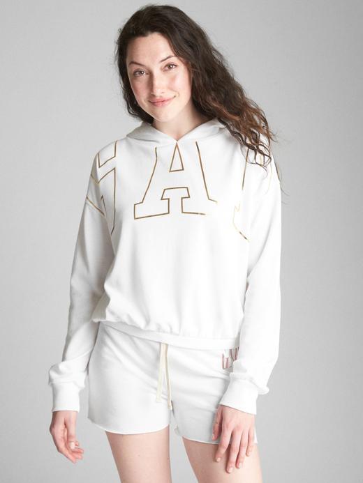 Metalik logolu fransız havlu kumaşı kapüşonlu sweatshirt