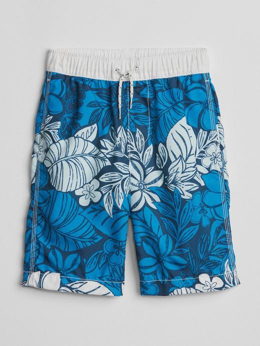 Erkek Çocuk mavi Hawaiian şort mayo