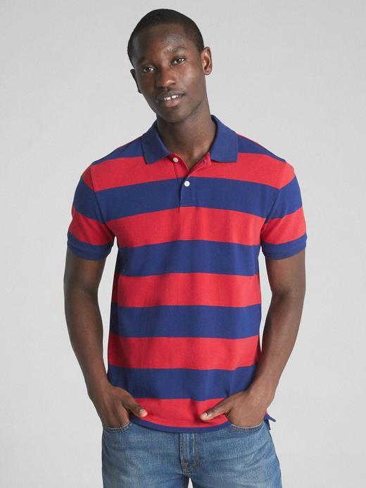 açık kırmızı Çizgili streç pique polo t-shirt