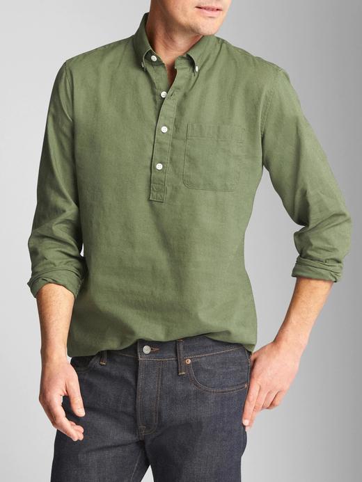 Yarım Düğmeli Keten ve Pamuk Karışımlı Gömlek
