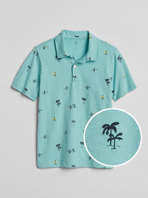 Desenli kısa kollu polo t-shirt