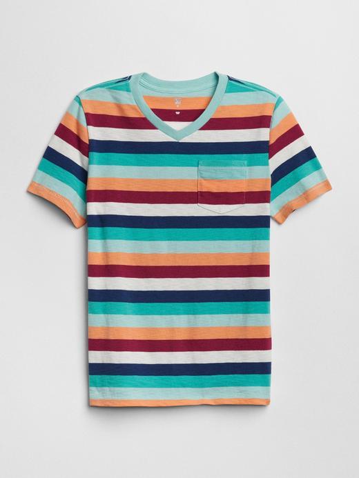 Erkek Çocuk Kırmızı çizgili Çizgili V Yaka T-Shirt