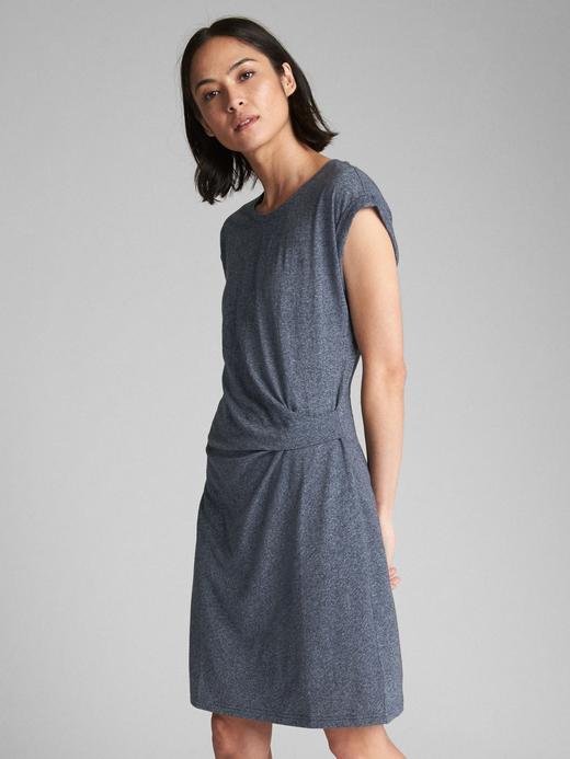 lacivert Kısa kollu midi elbise