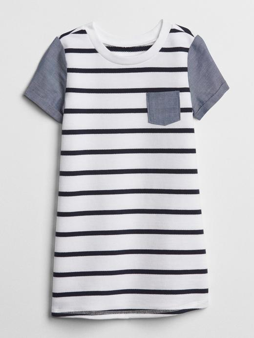 Bebek lacivert çizgili Çizgili şambre t-shirt elbise