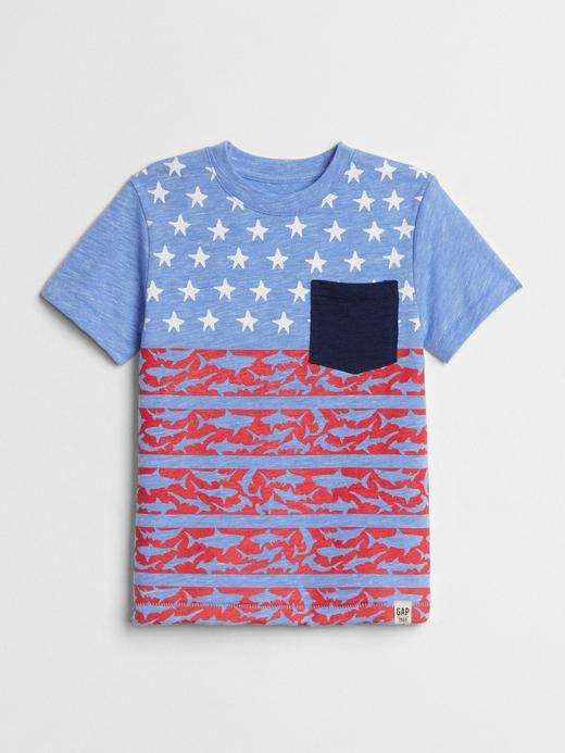 Bebek kırçıllı mavi Baskılı kısa kollu t-shirt