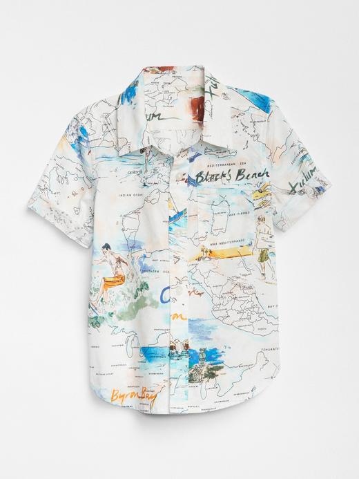 Harita desenli kısa kollu gömlek