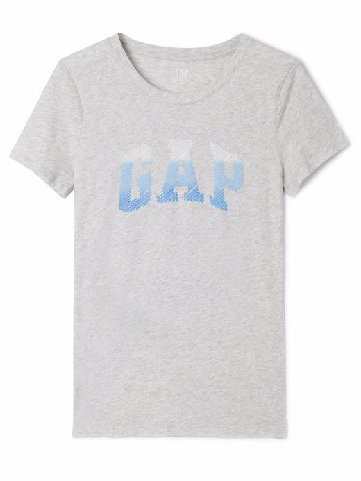 açık gri Logolu kısa kollu t-shirt