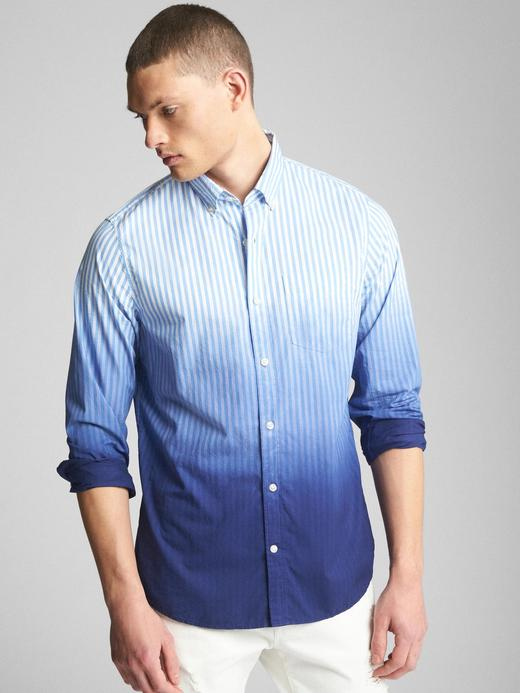 mavi çizgili Standard fit poplin gömlek
