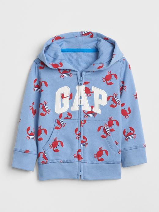 Desenli logolu kapüşonlu sweatshirt
