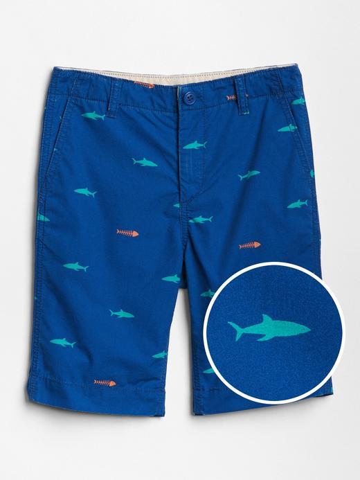 Erkek Çocuk parlak mavi Köpek balığı desenli şort