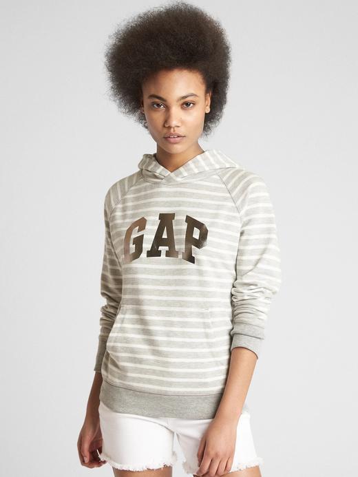 Logolu çizgili fransız havlu kumaşı sweatshirt
