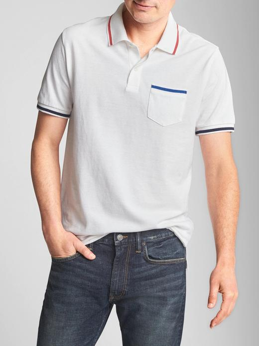 Çizgili tipped polo t-shirt