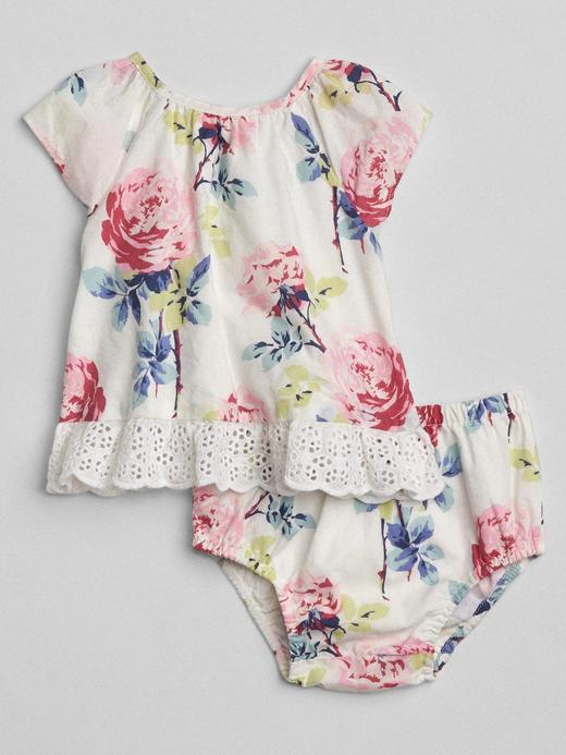 Bebek kırık beyaz Çiçekli üst ve alt takımı