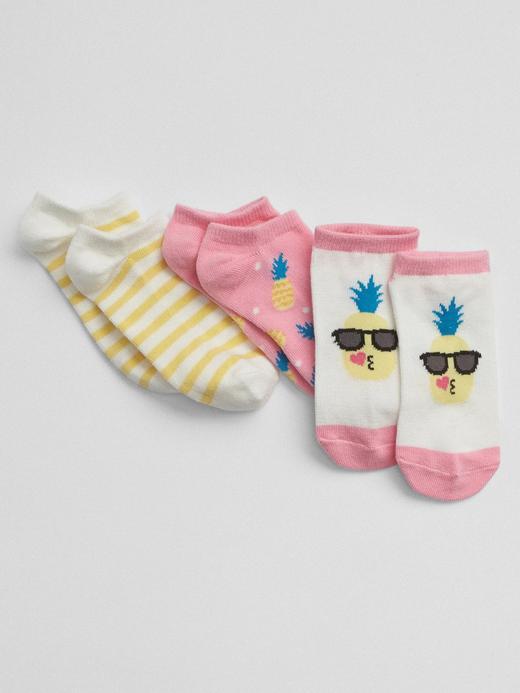 Kız Çocuk pembe 3'lü ananas desenli çorap