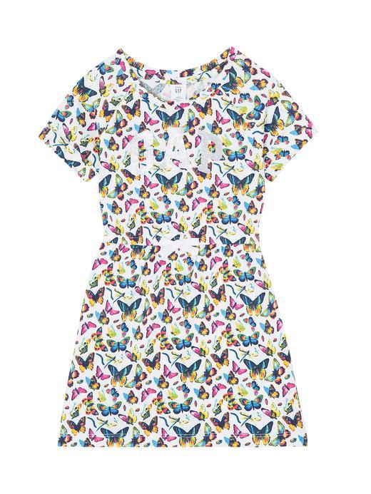 Desenli logolu kısa kollu elbise