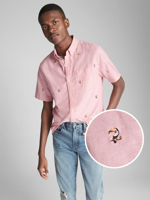 Erkek pembe Oxford kısa kollu işlemeli streç gömlek