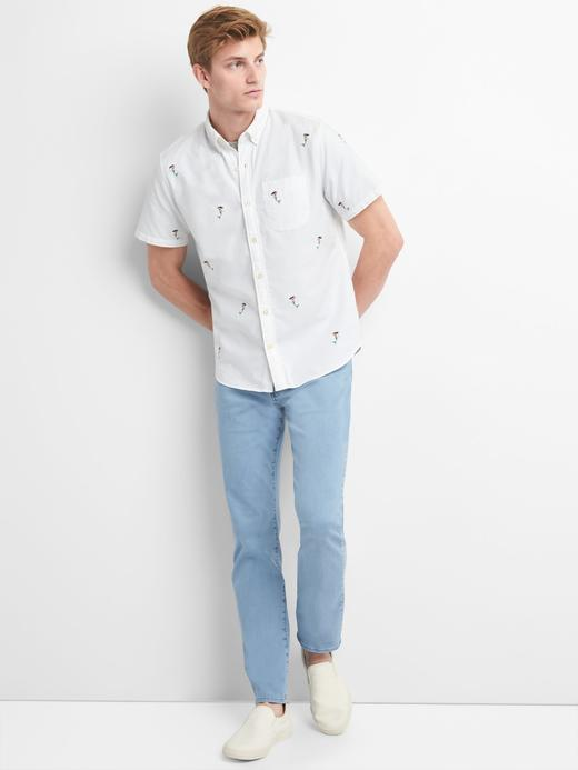 Oxford kısa kollu işlemeli streç gömlek