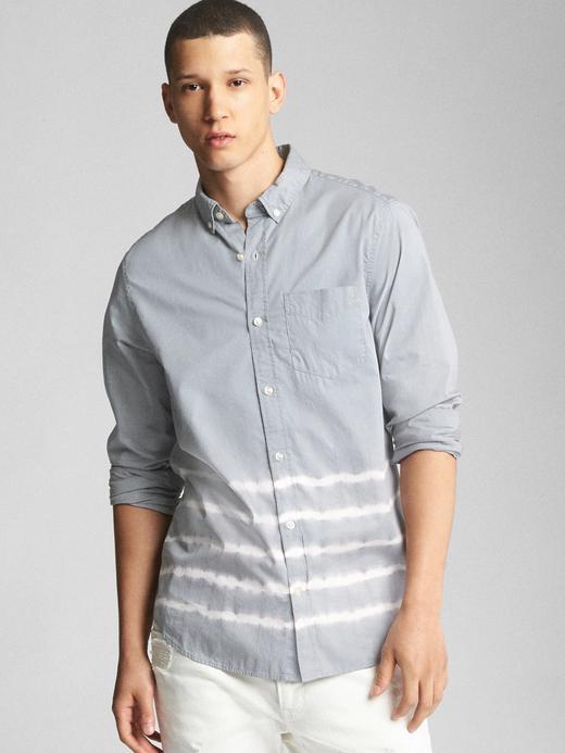 Erkek gri Standard fit poplin gömlek