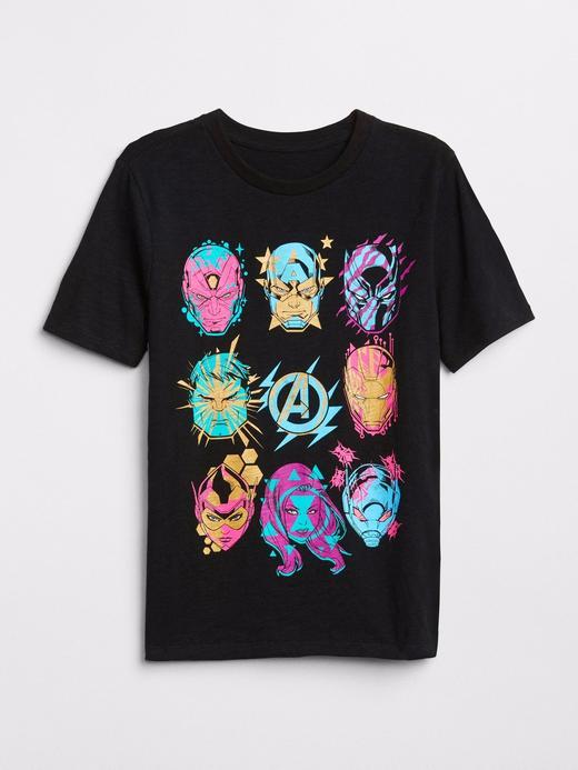 Siyah GapKids | Marvel© baskılı t-shirt