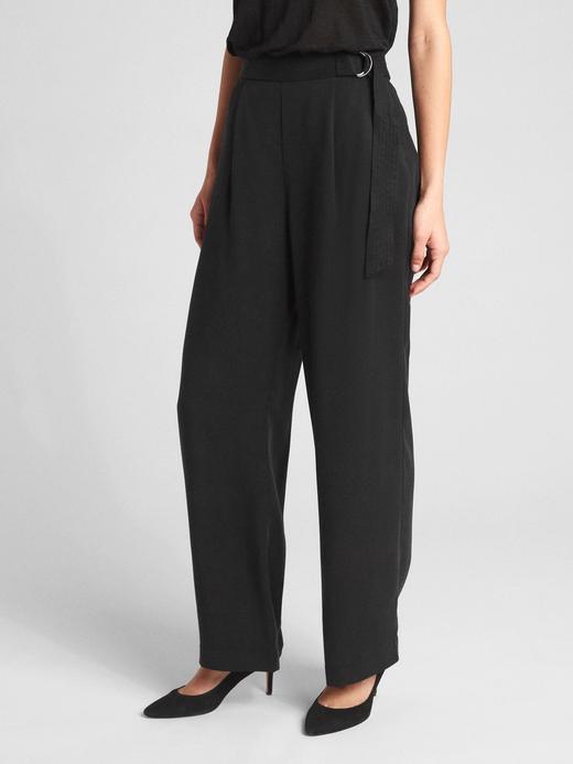 Kadın Siyah Yüksek belli kuşaklı bol paçalı Tencel™ pantolon