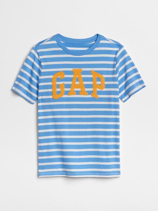 Logolu çizgi desenli kısa kollu t-shirt