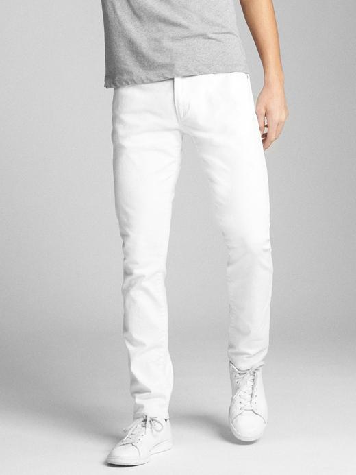 Erkek beyaz EverWhite Skinny Fit GapFlex Jean Pantolon