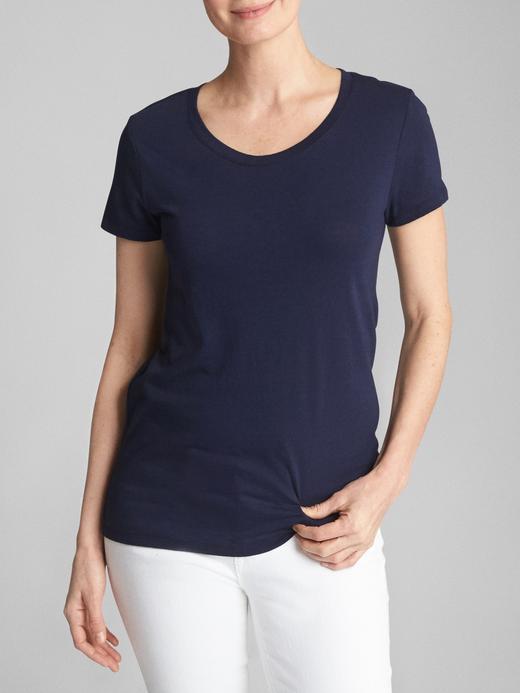 Kadın Lacivert Sıfır Yaka T-Shirt
