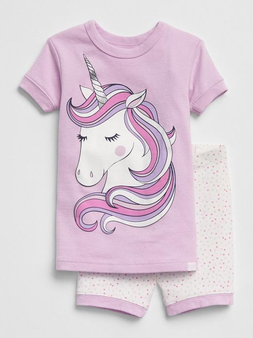 Bebek lila çizgili Unicorn desenli pijama takımı