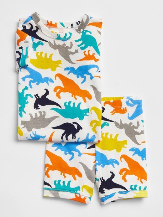 Bebek kırık beyaz Dinozor desenli pijama takımı
