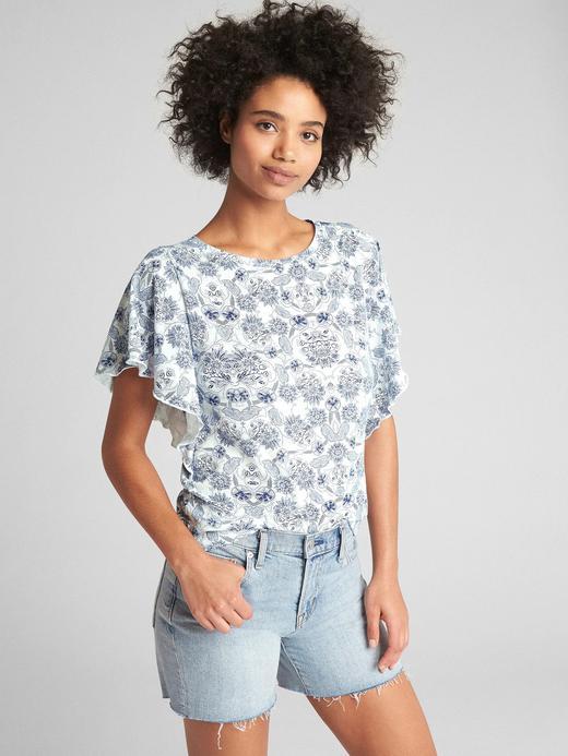 Kadın Çiçek desenli Vintage yıkamalı desenli t-shirt