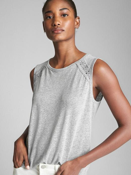 Kadın gri Kolsuz keten jarse t-shirt