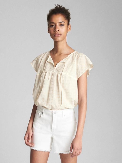 Kadın renkli Metalik detaylı kısa kollu bluz