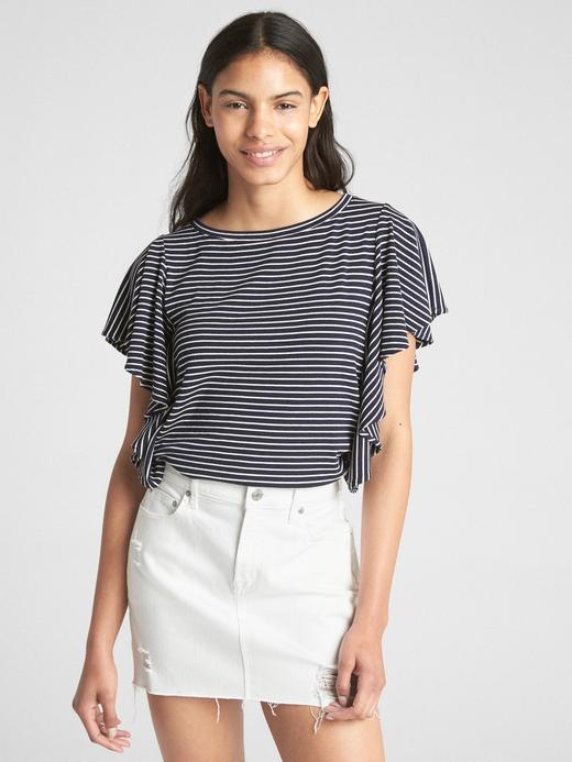 Kadın lacivert çizgili Softspun fırfır kollu çizgili t-shirt
