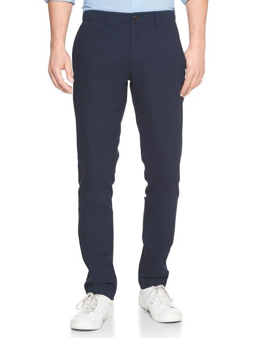 lacivert Pamuk ve Keten Karışımlı Slim Fit Chino Pantolon