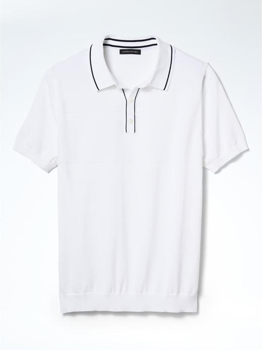 Erkek Beyaz Çizgili Supima® Pamuk polo t-shirt
