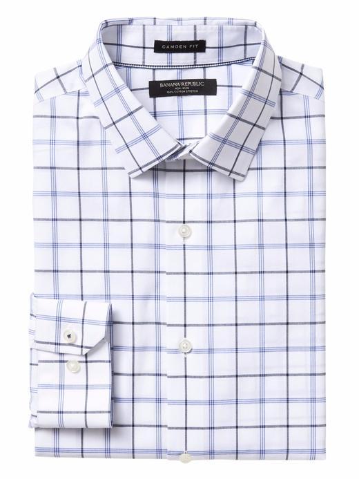lacivert Camden Standard-Fit Ütü Gerektirmeyen Streç Gömlek